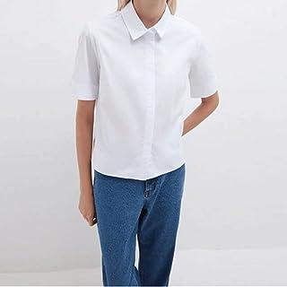 Wanxiaoyyyindx T Shirts for Women, Office Ladies White Blouse And Shirt Short Sleeve Lapel Basic Simple Casual Shirt Fashi...