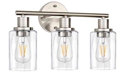 Wall Vanity Light Fixture, 3-Light Wall Sconce Lighting Brushed Nickel, Modern Bathroom Lights with Clear Glass Shade, Vintage Porch Wall Lamp for Mirror Kitchen Living Room Workshop (E26 Base)