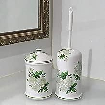 トイレブラシ トイレポット セット 陶器 ロイヤルアーデン 薔薇 白 39337-336set