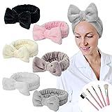 YMHPRIDE Diadema de spa - Diadema con lazo de 6 piezas para niñas, mujeres, encantadora y suave diadema elástica de Carol con juego de pinceles de maquillaje, bandas de maquillaje para el cabello