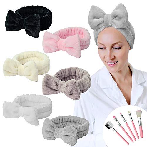 YMHPRIDE Spa Stirnband - 6 Stück Bowknot Stirnband für Mädchen Frauen Schönes weiches Carol Elastic Stirnband mit Make-up Pinsel Set, Haarwickel Makeup Bands Dusch Stirnband (6 Farben)