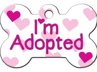 Quick Tag Novelty I.D. Tags I'm Adopted White Bone Large