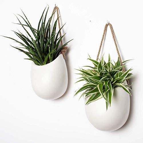 Kazai.® | Set de 2 floreros de cerámica Blanco | Mate