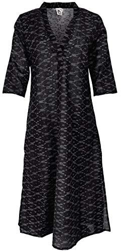 Guru-Shop Elegantes Ikat Kleid, Langes Tunikakleid, Sommerkleid, Damen, Schwarz, Baumwolle, Size:S (36), Lange & Midi-Kleider Alternative Bekleidung