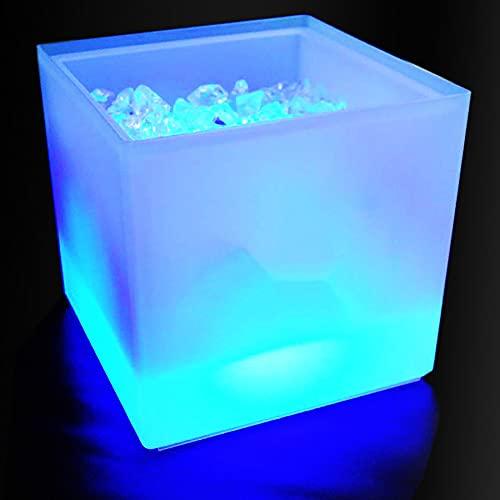 Cubo de hielo LED que cambia de color, enfriador de doble pared, cuadrado, champán, vino, cerveza, karaoke, fiesta, bar, hogar, boda, capacidad de 3,5 l, 2 unidades