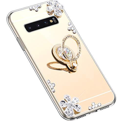 Uposao Kompatibel mit Samsung Galaxy S10 Plus Hülle Silikon Spiegel Handyhülle Schutzhülle mit 360 Grad Ring Ständer Glitzer Kristall Strass Diamant Mädchen Handy Tasche Silikon Hülle Case,Gold