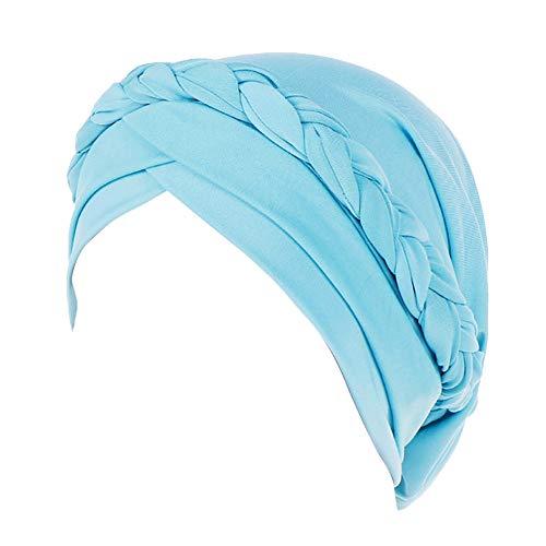 Lazzboy Frauen Indien Hut Muslim Solid Chemo Beanie Schal Wrap Cap Kopftuch Damen Headscarf Turban Bandana Kopftücher Headwrap Hijab Schals Kopfbedeckung(Himmelblau)