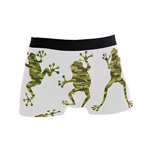 Herren Boxershorts Camouflage Armee Grün Frosch lustige Tierunterwäsche für Jungen Jugendliche Herren Polyester Spandex atmungsaktiv Gr. X-Large, mehrfarbig