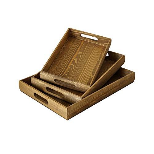 Bandeja para Servir Pastel de boda retro de madera del bosque Postre Bandeja Bandeja Bandeja rectangular de madera de Alimentos bandeja Decoración bandeja de múltiples funciones Bandejas ( Color : A )