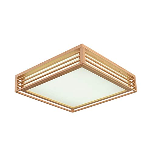 PIAOLING In stile giapponese Lampada da soffitto in legno massiccio a quadrato LED Plafoniera Camera da letto Luce Soggiorno decorato Lampadario (Color : Warm light-45 * 45 * 11cm)