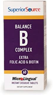 Superior Source Balance B Complex with extra Folic Acid and Biotin Nutritional Supplements, 60 Count