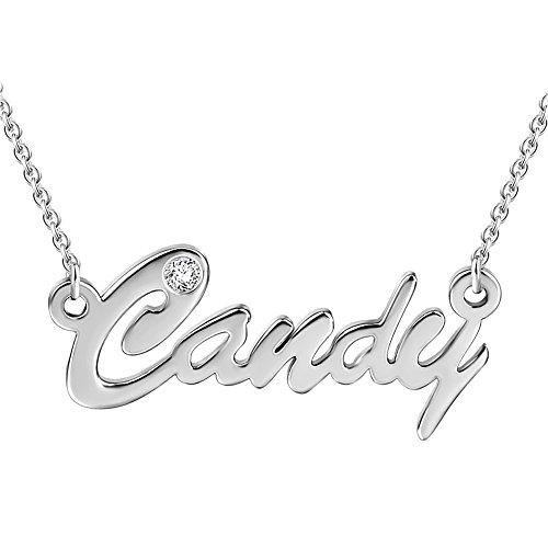 SOUFEEL Collar Colgante Nombre Mujer con Diamente de Swarovski Regalo para Familia Aniversario Novia Cadena Ajustable Chapado Oro Blanco