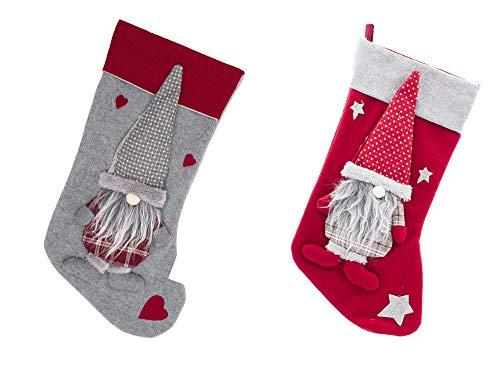 Calcetín de Navidad Pack 2 de Medias de Santa Claus Decoración de Bolso Dulces para Llenar y Colgar (Modelo C,22x47cm)