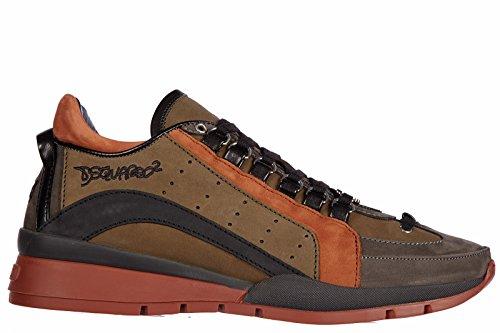 Dsquared2 scarpe sneakers uomo in pelle nuove 551 nabuk marrone