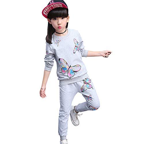 SXSHUN Mädchen Jogginganzug Kinder Sportanzug Trainingsanzug 2 TLG Bekleidungsset Pullover + Jogginghose, Grau, 122/128(Etikettengröße:130)