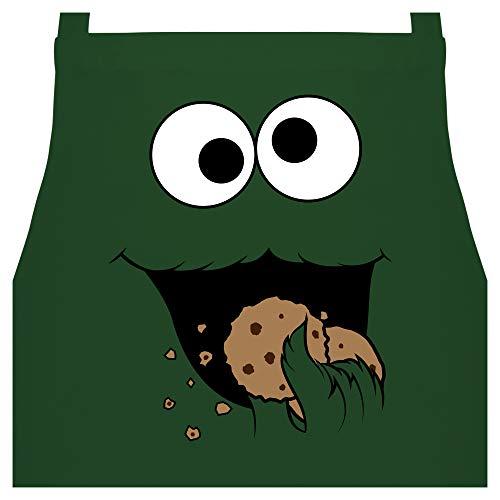 Shirtracer Schürze mit Motiv - Keks-Monster - 60 x 87 cm (B x H) - Dunkelgrün - kochschürze männer motiv - PW102 - Kochschürze für Männer und Damen