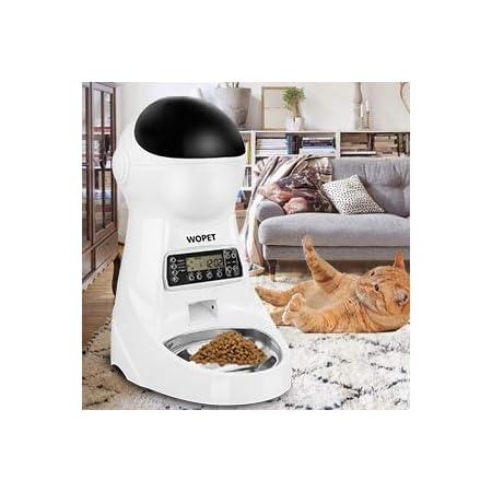 WOpetペット給餌器 タイマー給餌器猫用自動給餌器 タイマーは最大48時間餌対応できかわいい オシャレ自動給餌器ペットおるすばんフィーダー