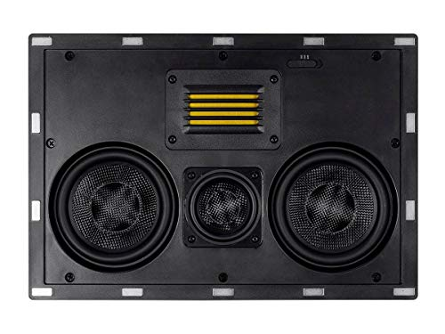 Monoprice 3-Way Carbon Fiber in-Wall Speaker Center Channel - Dual 5.25-inch (Single) with Ribbon Tweeter - Amber Series Black