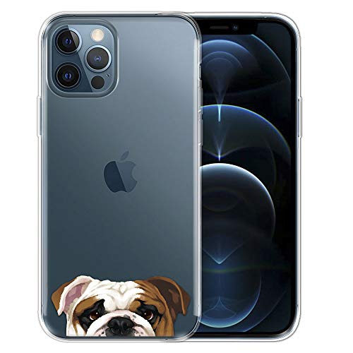 FINCIBO Clear Transparent TPU Soft Gel Skin Case Cover Compatible with Apple iPhone 12 Pro Max 6.7 inch 2020 - English Bulldog