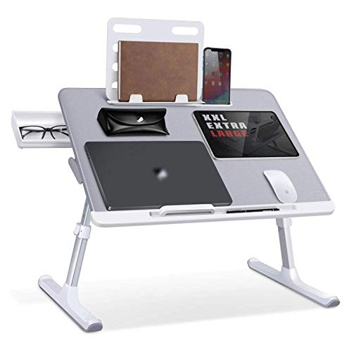 WFFF Laptop Bed Tray Desk, Adjustable Laptop Stand for Bed, Foldable Laptop Table with Storage Drawer for Eating, Working, Writing, Gaming, Drawing