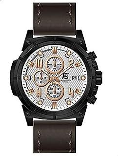 T5 H3436G-H Leather Round Analog Watch for Men - Dark Brown