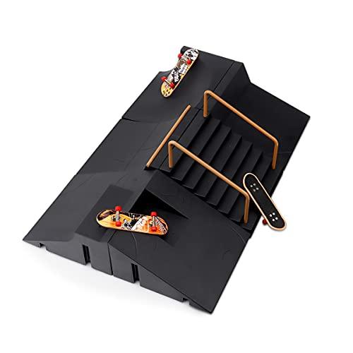 MOMSIV Mini Finger Skateboard- und Rampenzubehörset, Skate Park Deck Truck Board Rampenset Spielzeug für Kinder (G)