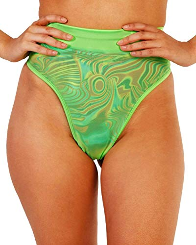 iHeartRaves Mesh High Waisted Thong (Neon Green, Small)