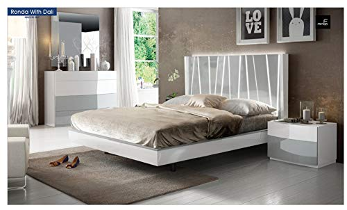 Learn More About White & Gray Laquer Finish King Bedroom Set 5Pcs Spain Soflex Ronda with Dali