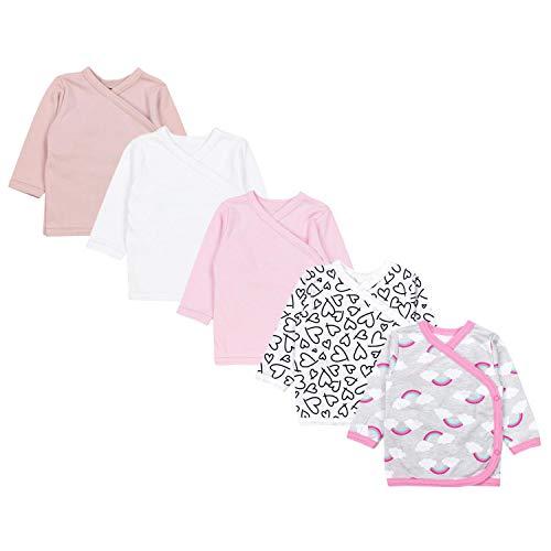 TupTam Unisex Baby Langarm Wickelshirt 5er Set, Farbe: Mädchen 6, Größe: 80