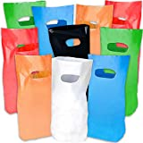 ArtCreativity Colorful Gift Bags, Set of 50, Durable Plastic Goodie Bags in 8 Vibrant Colors, Party Favor Baggies for Candy, Treats, and Gifts, Essential Birthday Party Supplies, 15 x 8.75 Inches