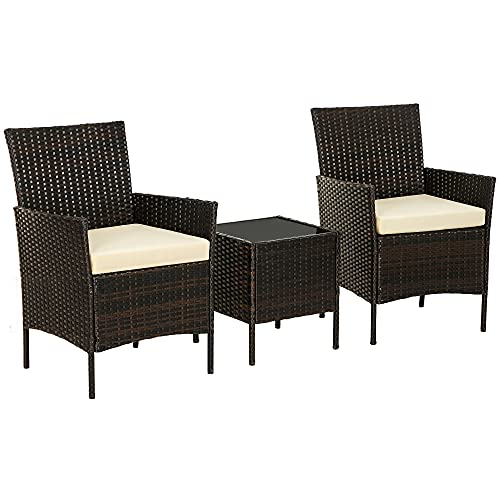 SONGMICS PatioPEWicker Chairs, Set of3Small Patio Furniture, for Front Porch Outside Balcony, Brown and Beige UGGF001BR01