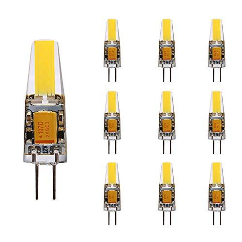 LED Lampe G4 Bi-Pin Gu4 JC RV COB Glühlampe AC/DC 12V Kristall Kronleuchter Licht 2W entspricht 20W Halogen 3200K Warmweiß [Energieklasse A+] WeiXuan 10 Stk