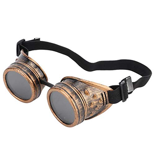 FOLOSAFENAR Gafas Steampunk Gafas Vintage Steampunk Gafas Vintage Alta Elasticidad, para Fiesta Doble(Brass)