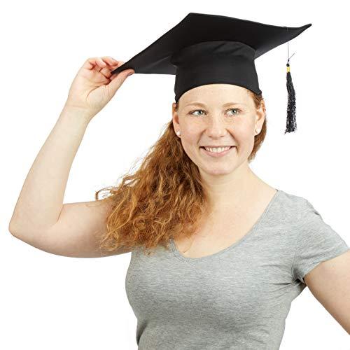 Relaxdays Doktorhut, Einheitsgröße, Quaste, Abschlussfeier Abitur Hochschule Diplom Promotion, Faschingskostüm, schwarz