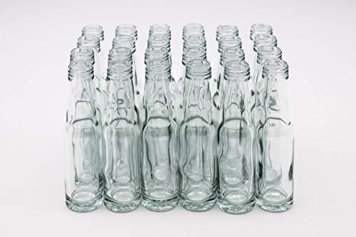 24 Leere 20 ml kleine Glasflaschen mit Schraubverschluss Gold 18 mm – Kleine Flaschen zum Befüllen mit z.B. Likör, Schnaps, Essig und Öl – Mini Flaschen/Schnapsflaschen klein (24)