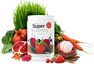 Daily Super Greens 9.5 oz (ready-to-mix green powder that can help you detox, cleanse your body, and have you feeling your best every day) (Berry Blast)