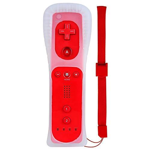 AeeYui Mando a Distancia para Wii/Wii U, Controlador de Juegos para Nintendo Wii, Mando a Distancia con Funda de Silicona y Muñequera(Rojo)