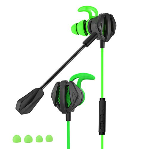 Cuifati Tragbare Headsets, G6 In-Ear Green Tragbare Headsets Ohrhörer mit Mikrofonen, bassgetriebener Sound Ergonomisches Design Tragbare In-Ear-Kopfhörer für PC, Laptop, Videospiel(Grün)
