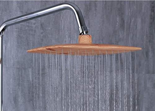 Doucheset in gepolijst metaal met rechthoekige rechthoekige houten douchebak