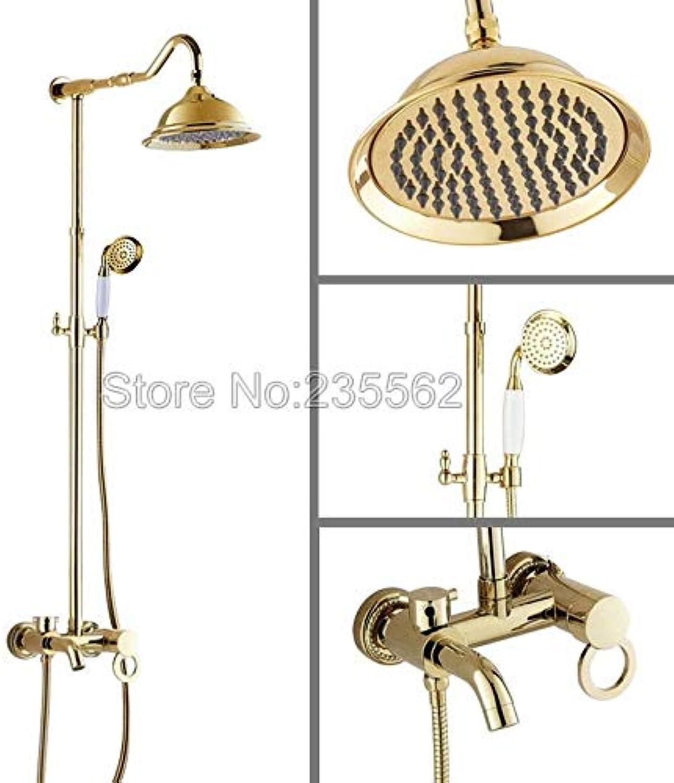 Luxus NEUE Golden Messing Regendusche Set Wasserhahn + Wanne Mischbatterie + Handbrause Wand lgf650, Golden