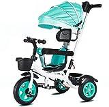 Carrito de paseo multifunción, esqueleto de acero para niños, triciclo, dos etapas ampliado, multivelocidad de ajuste de altura carro de bebé productos verde verde