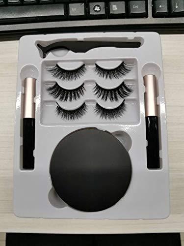 Faux Cils Magnétique, Luckyfine Naturel Magnétique Eyeliner Kit, 6 Paires Cils Magnétiques Réutilisables Utilisation avec Imperméable Liquide Eyeliner - Aucune Colle Nécessaire, avec Pincette Miroir