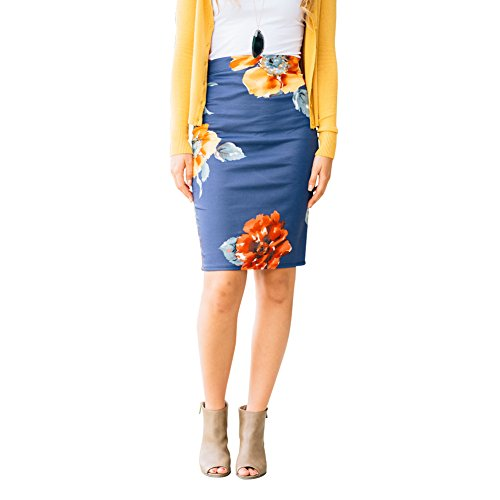 HUHHRRY Pencil Skirts Plus Size Casual Skirt Elastic Waist Band Scuba Streychy Floral Printed Blue X-Large