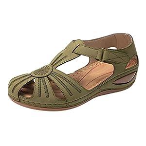 YWLINK Zapatos De CuñA para Mujer Verano Retro De Gran TamañO Ahueca hacia Fuera Los Zapatos Casuales Ligeros De Fondo Suave Antideslizante Zapatillas De Playa Baotou Sandalias Planas