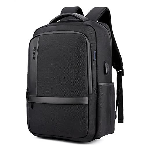 Zaino Business Uomo, Zaino per Laptop, con Porta di Ricarica USB E Dispositivo Antifurto, Zaino Impermeabile, Zaino Bagaglio A Mano,Black-18 inch