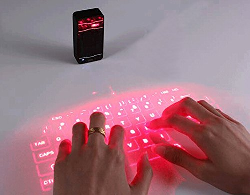 ESupFly Portable Virtual Laser keyboard & Mouse Wireless Bluetooth Laser Projection Projected Keyboard for Apple iPhone, iPad, Samsung, Android Smart Phones and Tablets, Laptops, PC, Computers (Black)