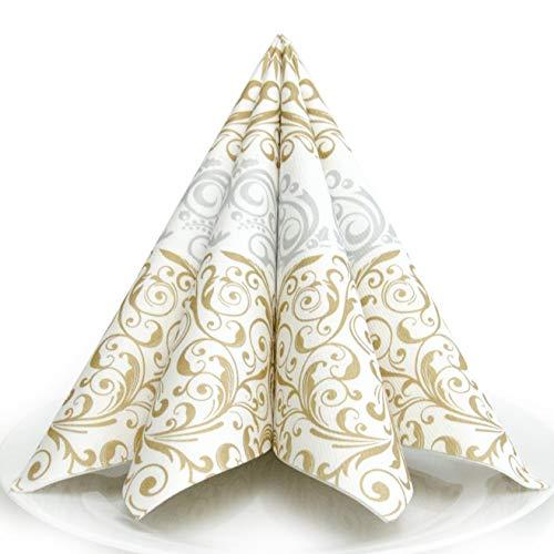 HANTERMANN Servietten Weihnachten Gold/Silber Premium AIRLAID STOFFÄHNLICH   25 Stück   40 x 40cm   1/4 Falz   hochwertige, edle Weihnachtsservietten   Weihnachtsdeko   Made in Germany