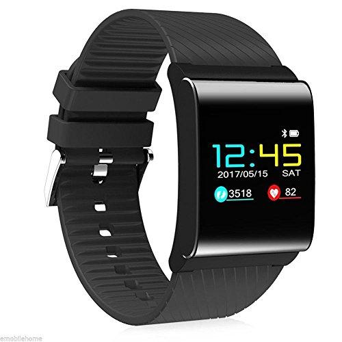 Q&M Smartwatch met bluetooth, 0,95 inch, OLED Color Screen Fitness Activity Tracker horloge voor mannen/vrouwen/adolescenten bloeddrukHR voor Samsung Android