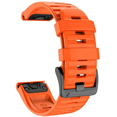 YOOSIDE Quick Easy Fit Watch Band for Garmin Fenix 6X Pro/Sapphire,26mm Soft Non-allergenic Silicone Sport Waterproof Wristband Strap for Garmin Fenix 5X/5X Plus,Fenix 3,Quatix 3,Tactix Bravo (Orange)