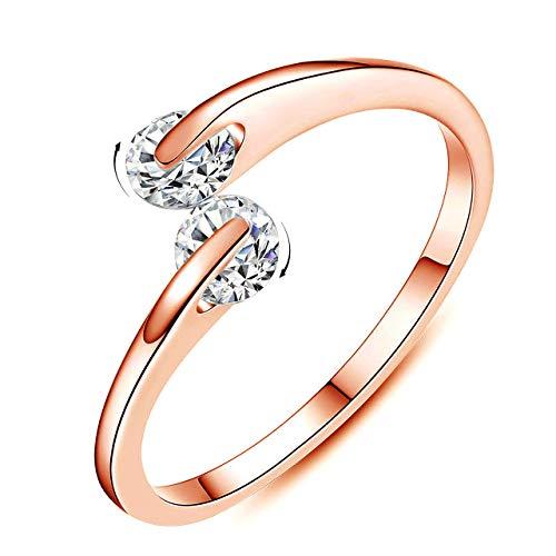 Anillo de compromiso para mujer, chapado en plata 925, anillo abierto, anillo de boda de 0,25 quilates CZ ajustable, ajuste cómodo (b: oro rosa)